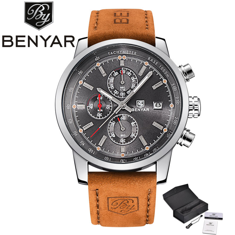 BENYAR Military Sport Men Wristwatch 3ATM Waterproof Date-Day Display Dial Genuine Leather Band High Quality Male Quartz Watch<br>