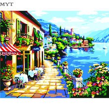 High Quality Oil Painting Mediterranean DIY Oil Painting By Numbers Kits Landscape Wall Decor Picture Painting On Linen(China)