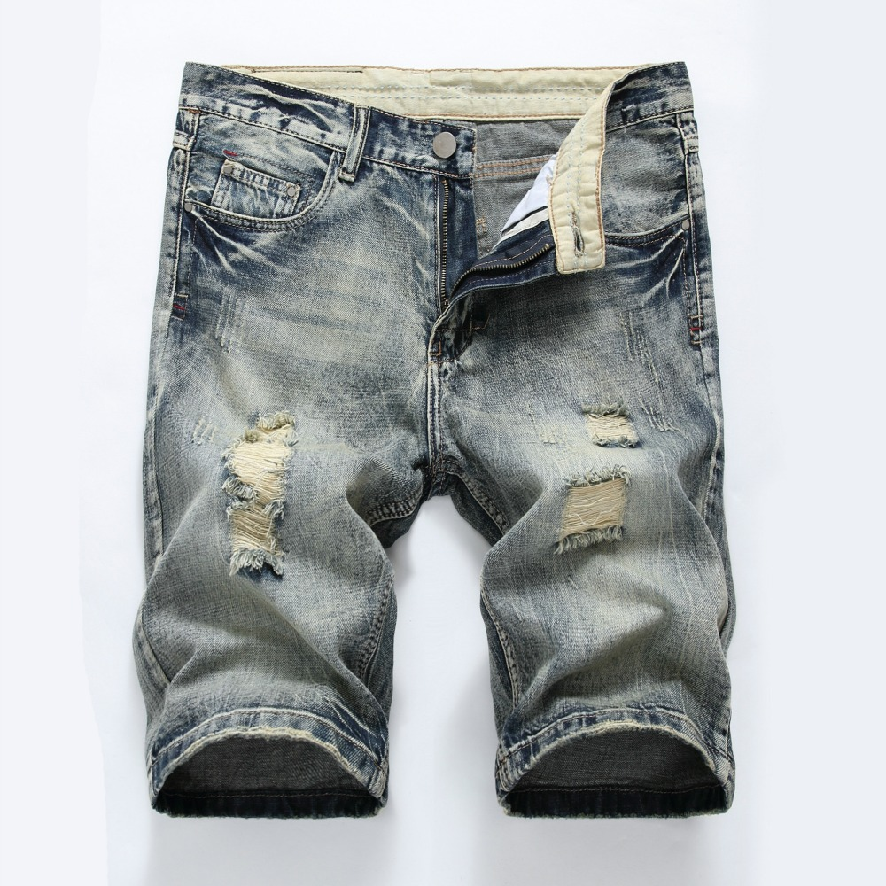 Shorts Men Ripped Short Jeans Straight Cotton Shorts Jean Bermuda Male Denim Plus Size 28-42