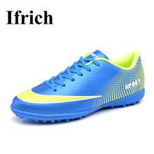Ifrich Soccer Shoes For Artificial Turf Cleats Men Kids Indoor Football Shoes Leather Turf Soccer Sneakers Green Blue Trainers