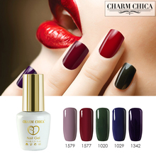 Charm Chica UV Gel Varnish Nail Polish Professional Salon Nail Gel rose bloom olive green sapphire brown Color Coat Lacquer(China)