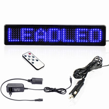 AC 100 - 240V voltage store output: DC12V Remote Control LED SIGN DIY  Advertising LED Car display Board Blue English display