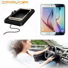 Ifavor For New C5 USB Qi Wireless Car Charger Transmitter Holder for Samsung Galaxy S7 Note 5 S6 S6 Edge Plus S7 Edge