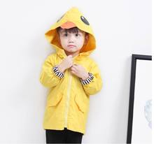Spring Autumn Girls Tench Coat Cartoon Duck Yellow Hoodie Long Sleeve Outer Garment Children Clothing 1-5T K660(China)
