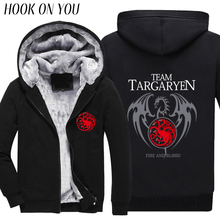2017 Winter Games of Thrones Men Fleeces A Song Of Ice And Fire Targaryen Print Thicken Hoodies Hipster Coat Thermal Sweatshirts