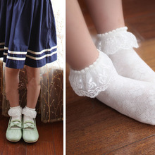 Baby gilrs lace socks flower princess dance socks cotton kids ankle sock students boots & dress  children's socks