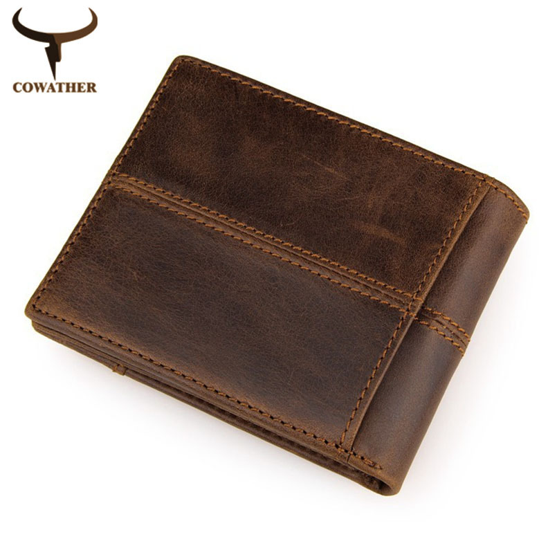 COWATHER 100% top quality cow genuine leather men wallets fashion splice purse dollar price carteira masculina free shipping<br><br>Aliexpress