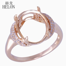 HELON Oval Cut 10x13MM Engagement Wedding Semi Mount Pave Real Diamonds Fine Ring Solid 14k Yellow Gold Fine Jewelry Ring(China)