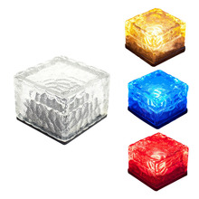 2017 Fashion Solar Powered Energy LED Lamp Square Waterproof Lucency Frosted Glass Brick Paver Cube Home Garden Path Decoration