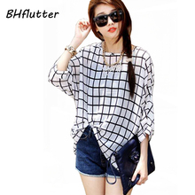 Chiffon Shirts 6XL Plus Size Women Clothing 2017 Novelty Plaid Print Summer Blouses Batwing Sleeve Women's Casual Tops Blusas
