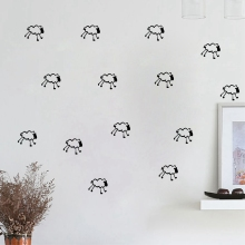 Cartoon Removable Little Sheep Vinyl Wall Sticker, DIY 15pcs/set White sheep pattern Art Vinyl wall decals Home Decor(China)