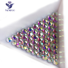 YANRUO 2058NoHF Crystal AB Rhinestone Flatback Non Hotfix Glass Crystals Stones Nail Art Rhinestones for Clothes Crafts Jewelry(China)