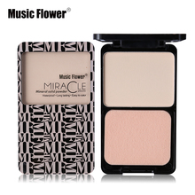Music Flower Matte Shimmer Fix Pressed Powder Palette Face Foundation Base Makeup Concealer Puff Contour Nude Compact Cosmetics