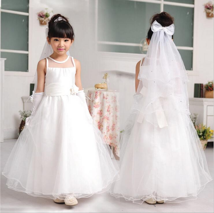 New Kids Girls Evening Dresses Pure White Long Style Banquet Wear Vestidos Costume Full Formal Flower Girl Clothes KD-1447<br><br>Aliexpress