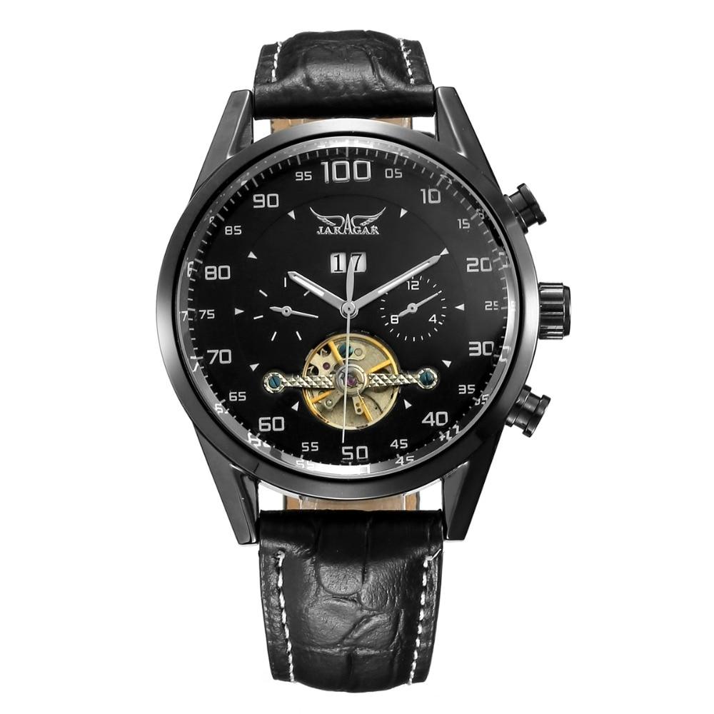 JARAGAR Brand Luxury Hand Wind Mechanical Watches Leather Tourbillon White Black Men WristWatch Gift Box Relogio Releges<br>