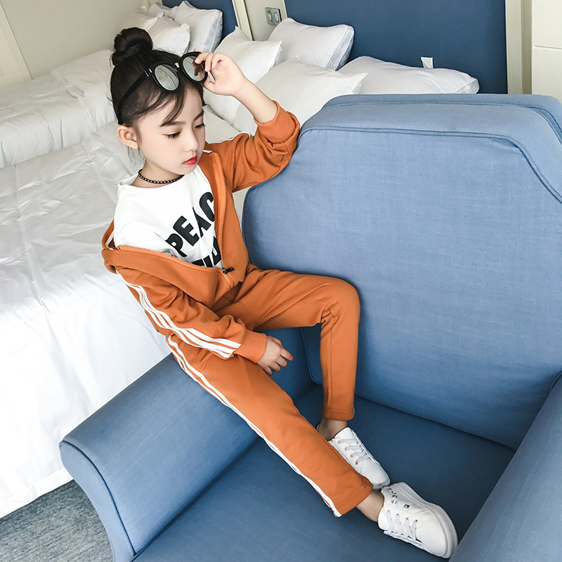 Girl Autumn Clothing Suit New Pattern Child Motion Leisure Time Suit Autumn Children Western Style Two Pieces Kids Clothing Sets<br>