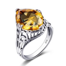 Szjinao Unique Jewelry Attractive Fashion Vintage 925 Sterling Silver Citrine Stone Rings For Women Gift Wholesale Free Shipping