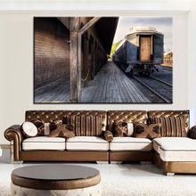 Large size Printing Oil Painting old railway station Wall painting Decor Wall Art Picture For Living Room painting No Frame
