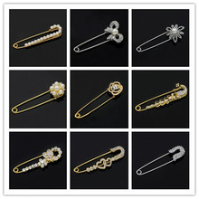 Hijab Pins Rose Gold Safety Pin Brooch Jewelry Fashion Luxury Rhinestone Men Brooches For Suit Scarves Corsage Sweater Collar