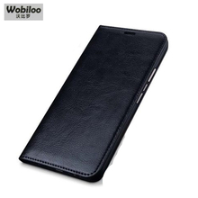 Wobiloo Brand Cases Classic Plain Weave Business Flip Phone Accessory Genuine Leather Case for Blackberry Priv Fashion Cover