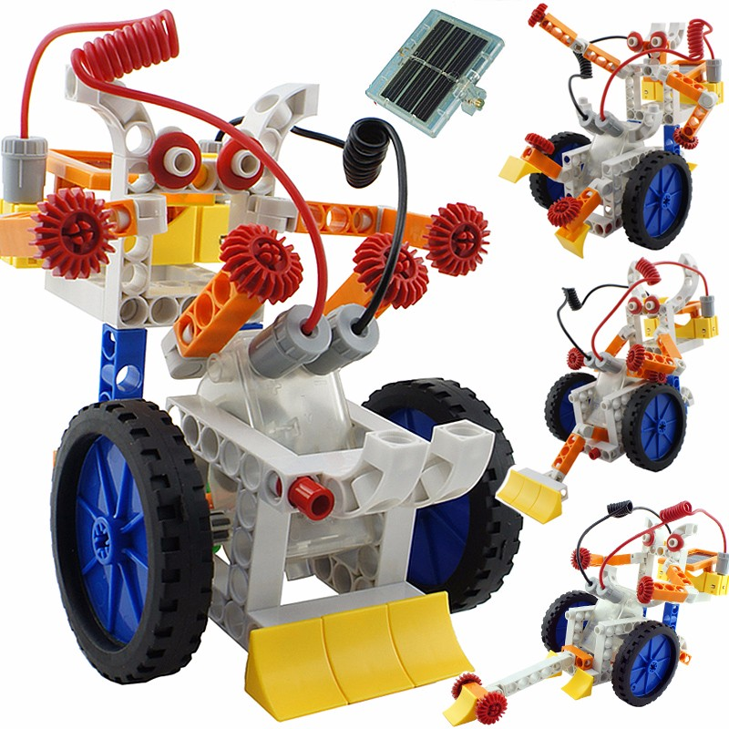 New DIY 4 In 1 Solar Power Building Blocks Robot Kits Educational Toy Assembled Toys For Kids Car Animal DIY Robot Toys(China (Mainland))