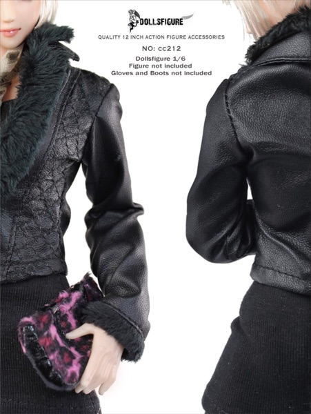 "Dollsfigure 1//6 Scale Black WDown jacket+Stockings For 12/"" FeMale Body"