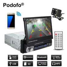 "Podofo Car Stereo audio Radio Bluetooth1 din 7"" HD Retractable Touch Screen Monitor DVD MP5 SD FM USB Player Rear View Camera(China)"