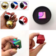 Cool Aluminum alloy Football Fidget Cube Square Fidget Spinner Hand Finger Relieves Stress Anxiety Attention Decompression toys