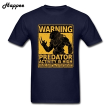 T Shirt Warning Predator Activity Is High Tees Shirt Men Movies T Shirt Adult Short Sleeve Cotton Plus Size T-shirt For Teenage(China)