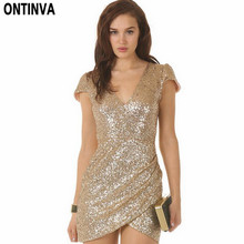 Sexy Sequin Dress Women Party Dresses Black Gold Vestidos De Fiesta Deep V Neck Bodycon Clubwear Novelty Woman Clothes 2017(China)