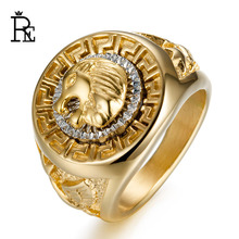 RE Punk Ring for Men Male Titanium 316L Stainless Steel Lion Eagle Star Hiphop Antique Vintage Rings