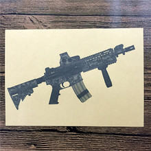"XQ-054 Vintage retro kraft paper ""Camouflage pattern gun"" wall stickers home decor living room poster sticker for kids 42x30 cm"