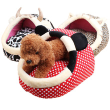 Small Dog Bed Autumn Winter Pet Kennel Warm Soft Velvet Dog Mats Cartoon Slipper Nest Teddy  Chihuahua Pomeranian Puppy House