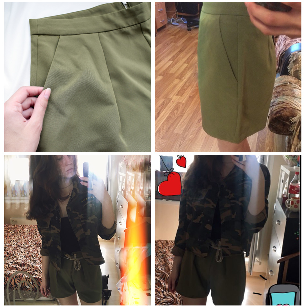 PK green shorts women feminino army plus size summer beach green shorts feminino fashion zipper beach summer girls shorts women 4