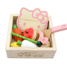 Baby Toys Pink KT Cat Vegetable/Fruit Play Food Wooden Toys Baby Wooden Pot Wooden Food Toys Kitchen Education Birthday Gift