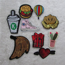 10 kind cartoon fashion hot melt adhesive applique embroidery patches stripes DIY clothing accessory patch 1pcs sell C907-C818