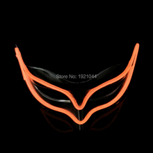 Carnival mask Orange Mask LED Strip Light EL Wire Glowing Mask with Steady on Driver Powered by 2-AA batteries Party Supplies(China)