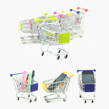 1Pc Colorful Creative Mini Children Handcart Simulation Supermarket Shopping Cart Model Novelty Toys Decor Gifts Random Color(China)
