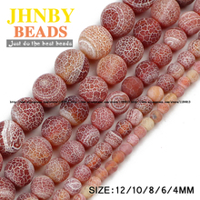JHNBY Red Weathered carnelian beads Natural Stone Top quality Round Loose beads ball 4/6/8/10/12MM Jewelry bracelet making DIY