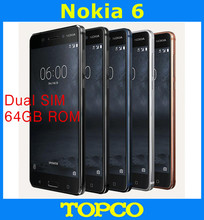 Nokia 6 Original Unlocked Android Mobile Phone 4G LTE GSM 5.5'' 16MP WIFI GPS Octa Core 3GB RAM 64GB ROM Dropshipping(China)