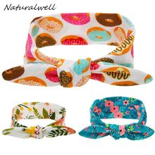 Naturalwell Baby Girl Flower Print Headwraps Toddler Bow Knot Head Wrap Cotton Stretch Headband Infant Turban Photo Props HB111