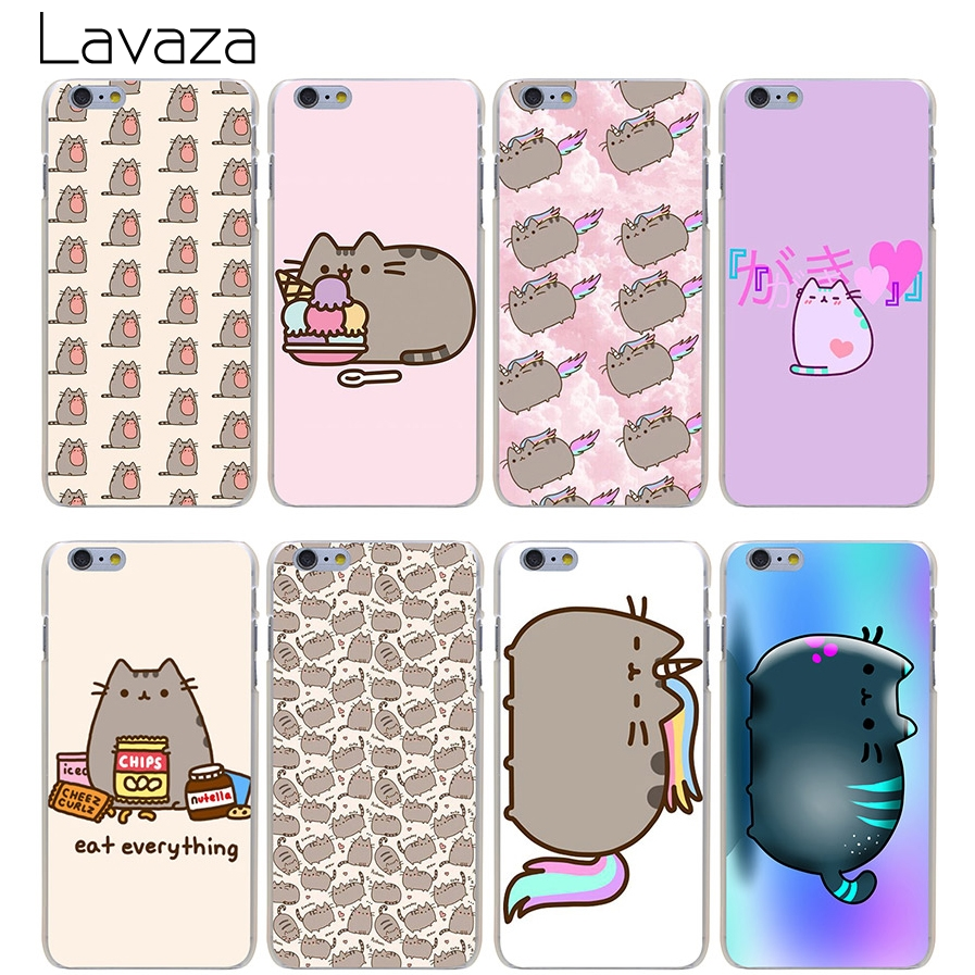 Lavaza Pusheen Cat Hard Transparent Cover Case for iPhone X 10 8 7 6 6S Plus 5 5S SE 5C 4 4S(China)