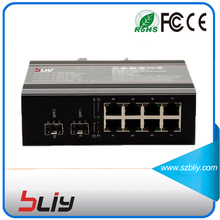 8 Rj45 port 10/100/1000M industrial managed ethernet switch with 2 sfp slot fiber port outdoor manageable gigabit network switch(China)