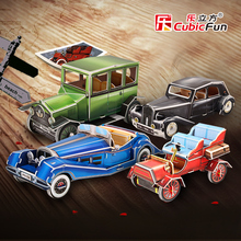 Cubicfun 3D paper model DIY toy birthday gift assemble puzzle citroen traction avant benz 500k cadillas B Ford T Vintage car 1pc
