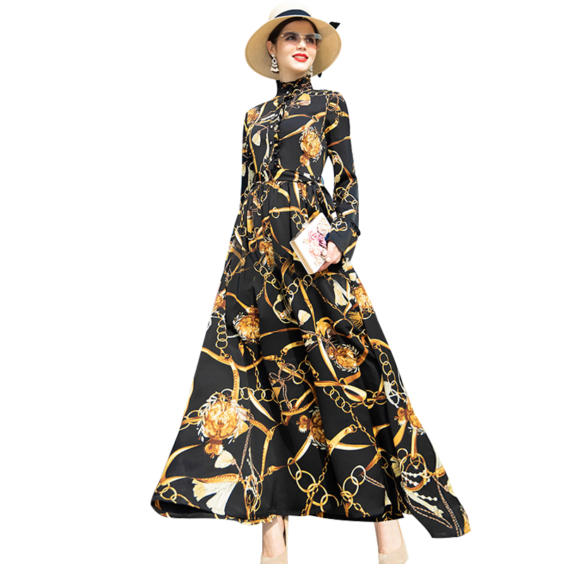 Buttons Stand Vintage Long Dress Women Flowers Evening Party Long Dresses Ladies Maxi Gown Runway Dresses DZ2074