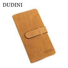 [DUDINI] High Quality Leather Long Men's Leather Wallet Private Custom Card Holder Hand Made Professional Wallet Clutch Wallets(China)