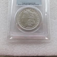 US Coin 1885cc MS63 Morgan 1$ Silver Coins currency senior transparent box Free shipping(China)
