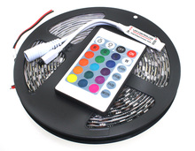 5050 RGB 12V Black PCB 60Leds/m LED Strip With 12V 24 Keys IR RGB Mini Remote Controller For SMD3528/5050/3014 (A2+C7)