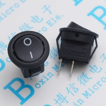 10pcs 15mm Small Round Black 2-Pin 2-Files 3A/250V 6A/125V Rocker Switch Seesaw Power Switch Free shipping