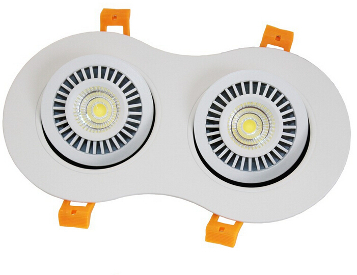 Free Shippipng 20W Dimmable COB Recessed led ceiling down light 360angle rotating led indoor lamp AC110V/ AC220V/AC230V<br>